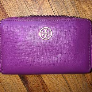 Pink Tory Burch Robinson Zip Wallet